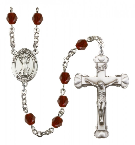 Women's St. Francis of Assisi Birthstone Rosary - Garnet