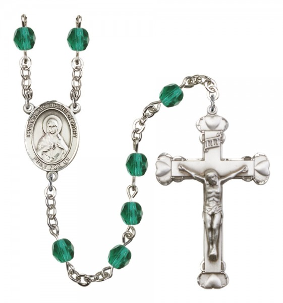 Women's Immaculate Heart of Mary Birthstone Rosary - Zircon