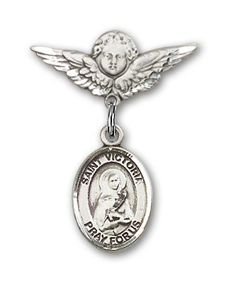 Pin Badge with St. Victoria Charm and Angel with Smaller Wings Badge Pin - Silver tone