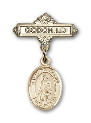 Pin Badge with St. Peregrine Laziosi Charm and Godchild Badge Pin - 14K Yellow Gold