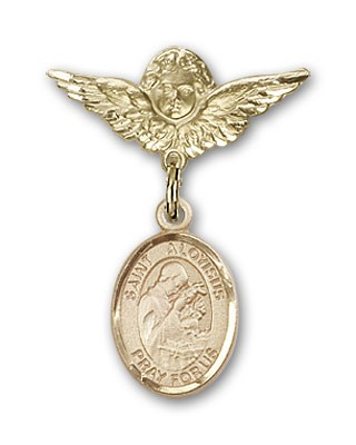 Pin Badge with St. Aloysius Gonzaga Charm and Angel with Smaller Wings Badge Pin - 14K Solid Gold