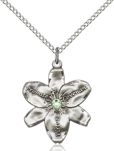Large Five Petal Chastity Pendant with Birthstone Center - Peridot
