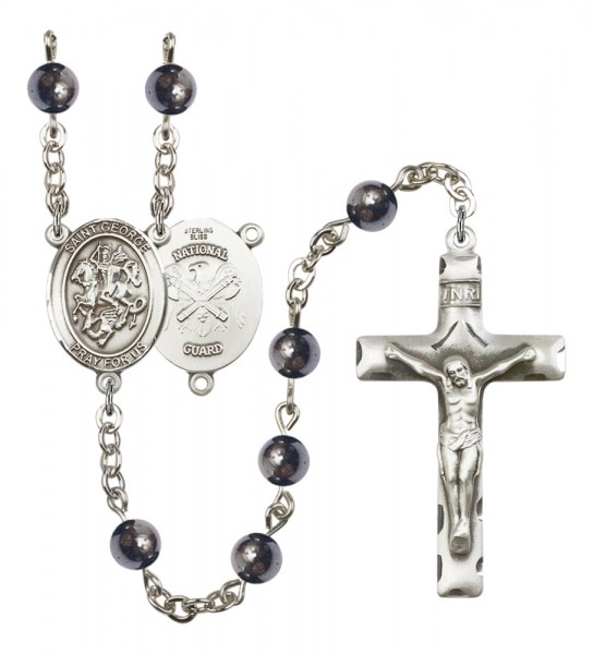 Men's St. George National Guard Silver Plated Rosary - Gray