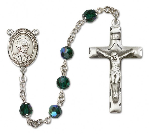 St. Louis Marie de Montfort Sterling Silver Heirloom Rosary Squared Crucifix - Emerald Green