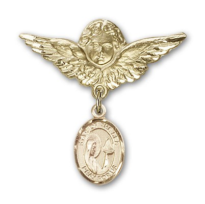 Pin Badge with Our Lady Star of the Sea Charm and Angel with Larger Wings Badge Pin - 14K Yellow Gold