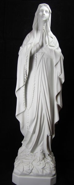 Our Lady of Lourdes Statue White Marble Composite - 25.25 inch - White