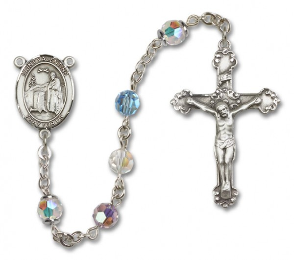St. Valentine of Rome Rosary Heirloom Fancy Crucifix - Multi-Color
