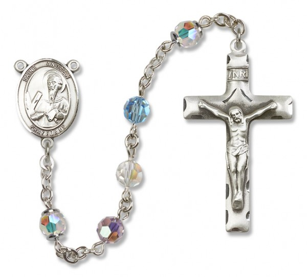 St. Andrew the Apostle Rosary Heirloom Squared Crucifix - Multi-Color