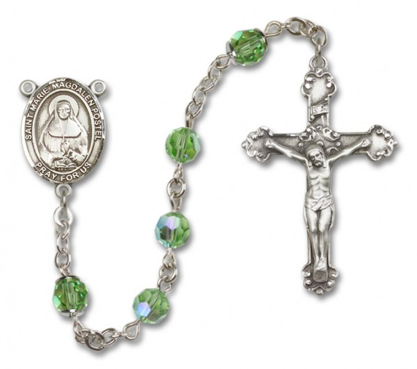 Marie Magdalen Postel Sterling Silver Heirloom Rosary Fancy Crucifix - Peridot