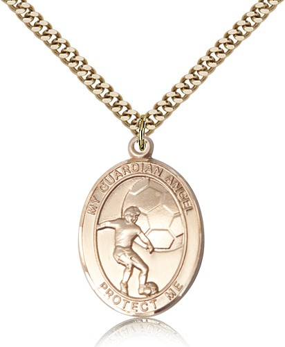 Guardian Angel Soccer Patron Saint Medal - 14KT Gold Filled