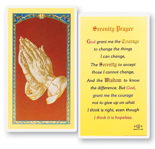 Serenity Laminated Prayer Cards 25 Pack - Full Color
