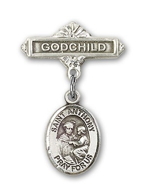 Pin Badge with St. Anthony of Padua Charm and Godchild Badge Pin - Silver tone