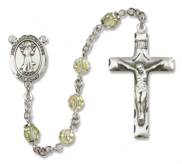 St. Francis of Assisi Sterling Silver Heirloom Rosary Squared Crucifix - Jonquil