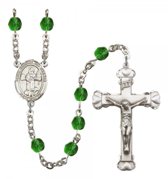 Women's St. Isidore the Farmer Birthstone Rosary - Emerald Green
