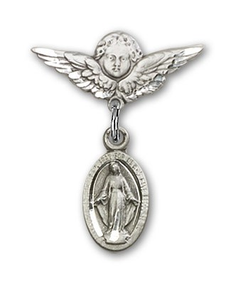 Pin Badge with Blue Miraculous Charm and Angel with Smaller Wings Badge Pin - Silver tone