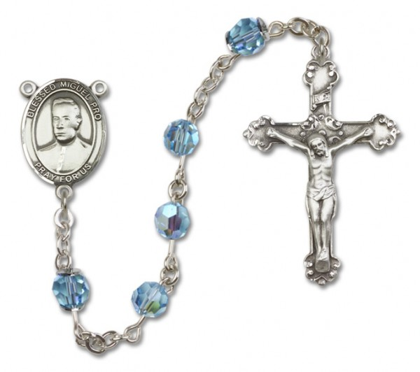 Blessed Miguel Pro Sterling Silver Heirloom Rosary Fancy Crucifix - Aqua
