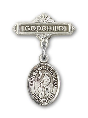 Pin Badge with St. Peter Nolasco Charm and Godchild Badge Pin - Silver tone