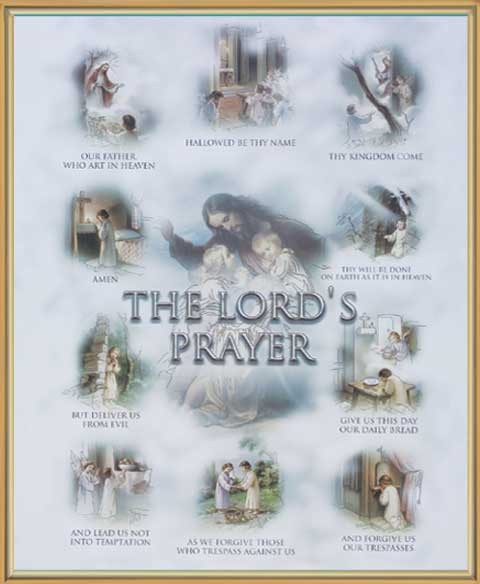 Lord's Prayer Gold Framed Print - Full Color