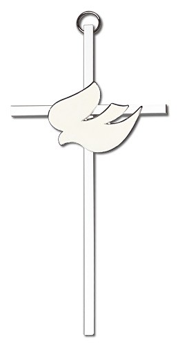 "White Enamel Holy Spirit Wall Cross 6"" - Silver tone"