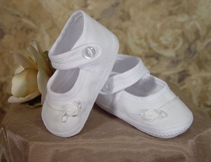Girls Cotton Batiste Baptism Shoe with Rosebud - White