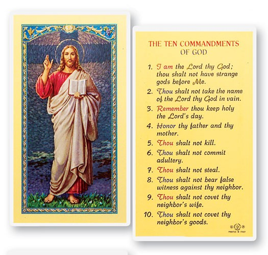 The Ten Commandments Laminated Prayer Cards 25 Pack - Full Color