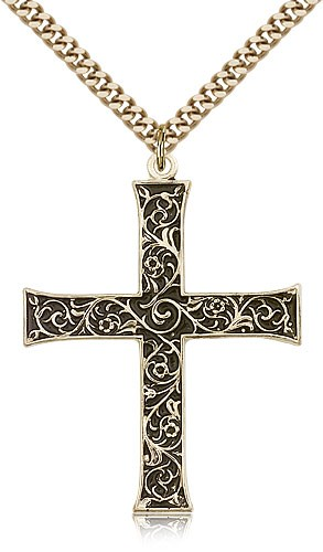 Antique Finish with Scroll Accent Men's Cross Pendant - 14KT Gold Filled