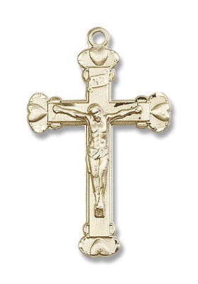 14kt Gold Heart Tip Crucifix Pendant - 14K Solid Gold