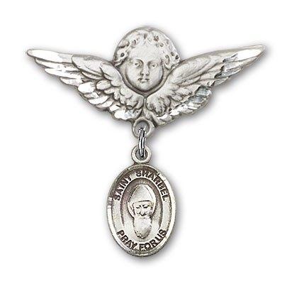 Pin Badge with St. Sharbel Charm and Angel with Larger Wings Badge Pin - Silver tone
