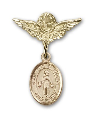 Pin Badge with St. Nino de Atocha Charm and Angel with Smaller Wings Badge Pin - Gold Tone