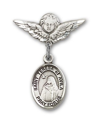 Pin Badge with St. Teresa of Avila Charm and Angel with Smaller Wings Badge Pin - Silver tone