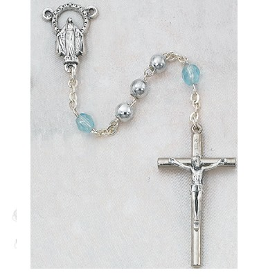 Metal Miraculous Rosary with Blue Our Father Bead, 5mm - Silver
