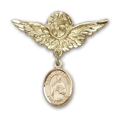 Pin Badge with St. Placidus Charm and Angel with Larger Wings Badge Pin - 14K Solid Gold