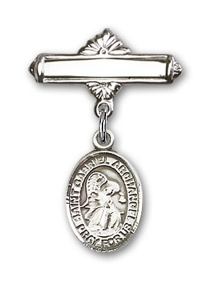 Pin Badge with St. Gabriel the Archangel Charm and Polished Engravable Badge Pin - Silver tone