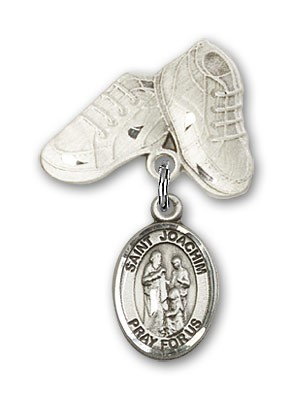 Pin Badge with St. Joachim Charm and Baby Boots Pin - Silver tone