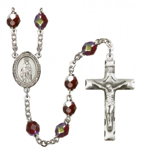 Men's St. Bartholome with the Apostle Silver Plated Rosary - Garnet