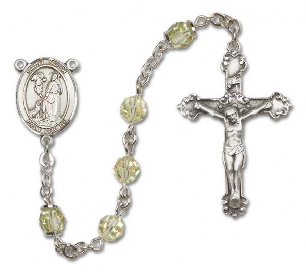 St. Roch Sterling Silver Heirloom Rosary Fancy Crucifix - Jonquil