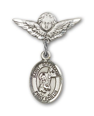 Pin Badge with St. Stephanie Charm and Angel with Smaller Wings Badge Pin - Silver tone