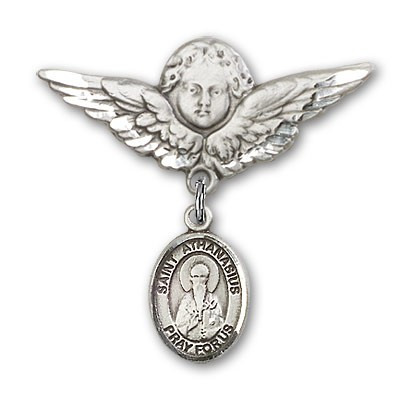 Pin Badge with St. Athanasius Charm and Angel with Larger Wings Badge Pin - Silver tone