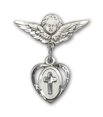 Pin Badge with Cross Charm and Angel with Smaller Wings Badge Pin - Silver tone