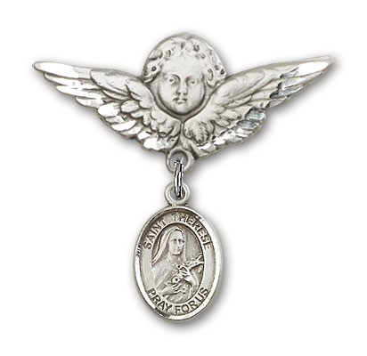 Pin Badge with St. Therese of Lisieux Charm and Angel with Larger Wings Badge Pin - Silver tone