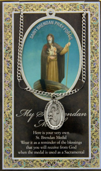 St. Brendan the Navigator Medal in Pewter with Bi-Fold Prayer Card - Silver tone