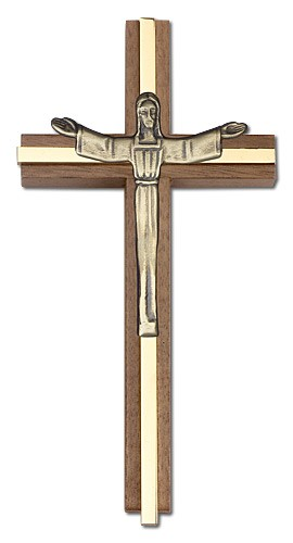"Contemporary Risen Christ Wall Cross in Walnut and Metal Inlay 6"" - Gold Tone"
