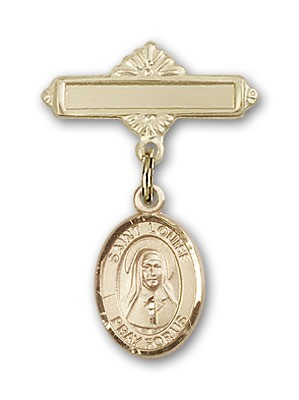 Pin Badge with St. Louise de Marillac Charm and Polished Engravable Badge Pin - 14K Solid Gold