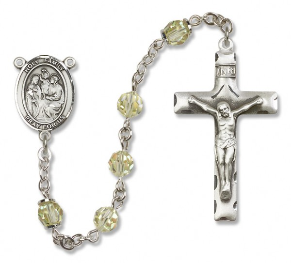 Holy Family Sterling Silver Heirloom Rosary Squared Crucifix - Jonquil