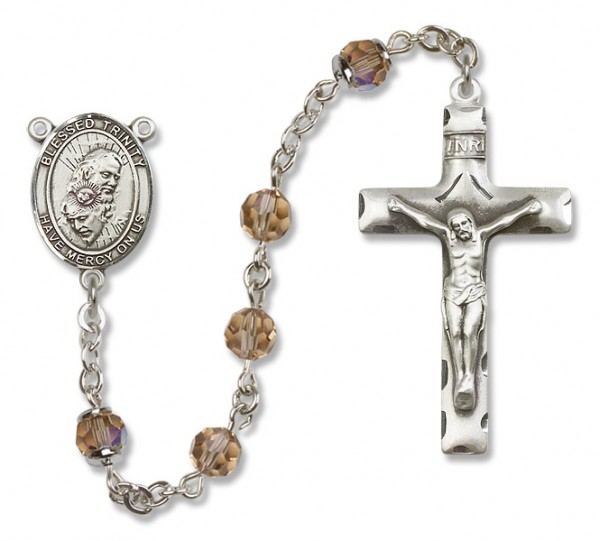 Blessed Trinity Sterling Silver Heirloom Rosary Squared Crucifix - Topaz