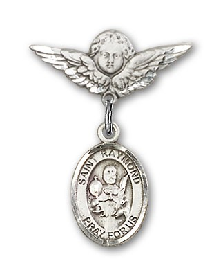 Pin Badge with St. Raymond Nonnatus Charm and Angel with Smaller Wings Badge Pin - Silver tone