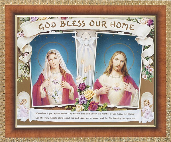 God Bless Our Home Sacred Heart and Immaculate Heart Framed Print - #122 Frame