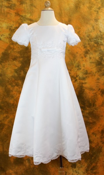 Plus Size Satin Embroidered First Communion Dress - White