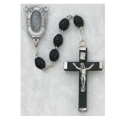Our Lady of Lourdes with Water Black Rosary - Black