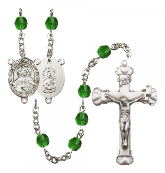 Women's Scapular Birthstone Rosary - Emerald Green